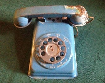 Vintage Metal Toy Telephone The Steel Stamping Co. Blue Toy Phone