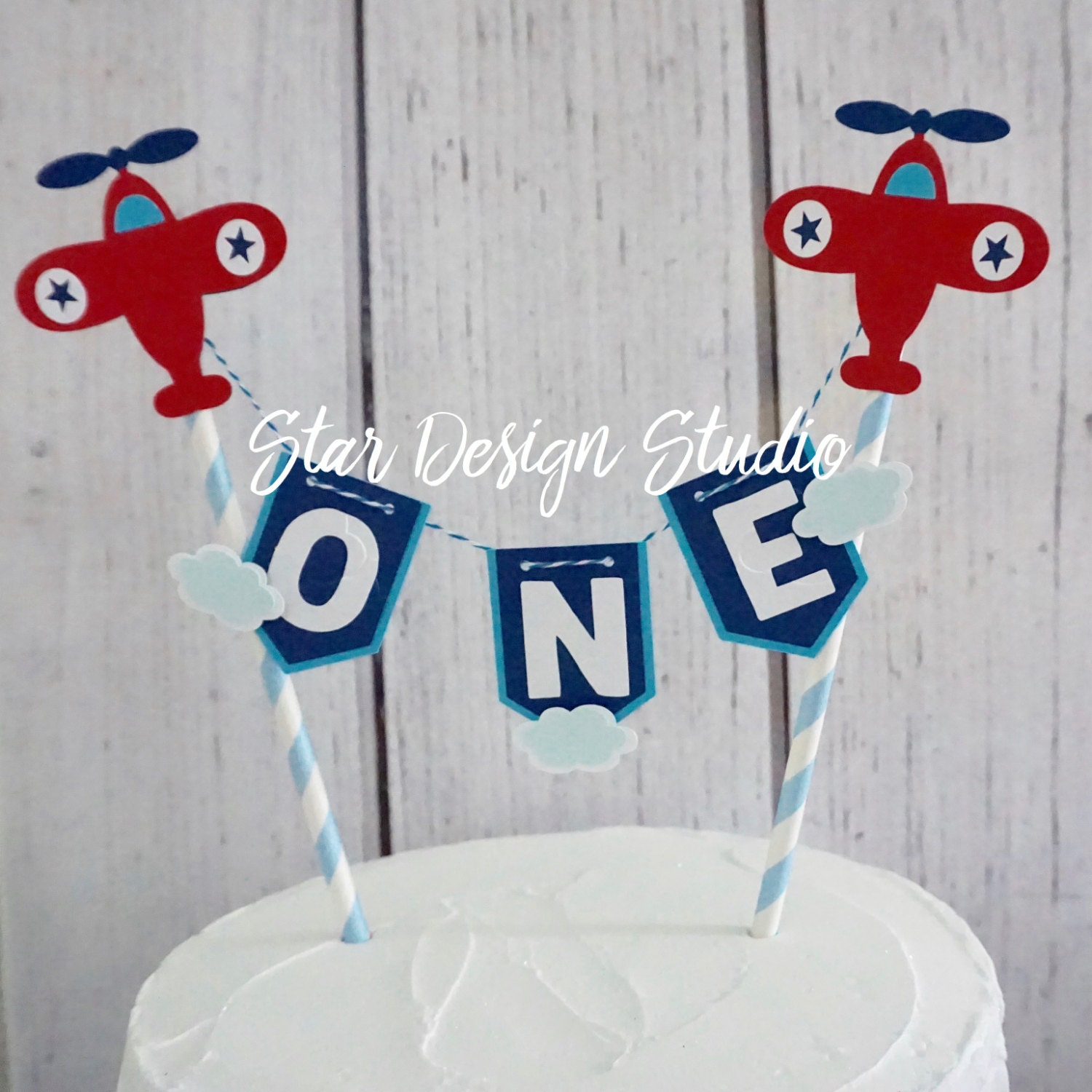 Airplane Cake Topper Birthday BuntingPlane cake topper Smash
