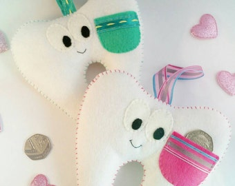 Tooth fairy pillow with pocket, felt tooth pillow, christening gift, nursery decor, gift for girls or boys, tooth fairy, nursery decor