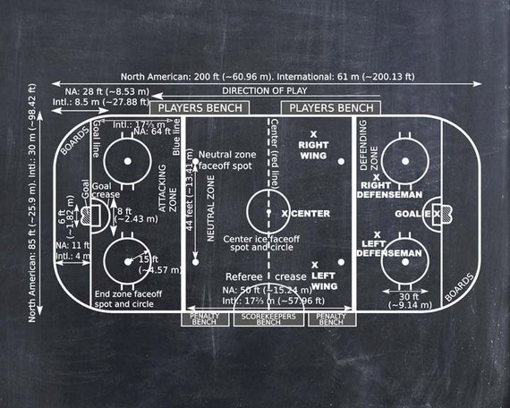 Ice Hockey Coach Gift - Hockey Decor - Hockey Poster - Hockey Blueprint - Hockey Patent Print - Hockey Wall Art Gift - Hockey Rink Diagram