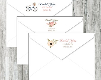 Custom Return Address Labels - Shabby Chic Floral Bicycle - Stickers