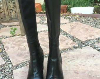 True Vintage Tall Knee High Tommy Hilfiger Black Chunky Boots/ Black Chunky Heel/ Super Clueless 90s