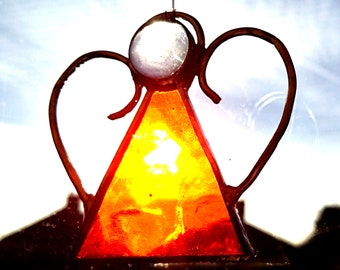 Handmade Christmas Tree Decoration - Stained Glass Orange Coloured Angel - Unique Gift/Present