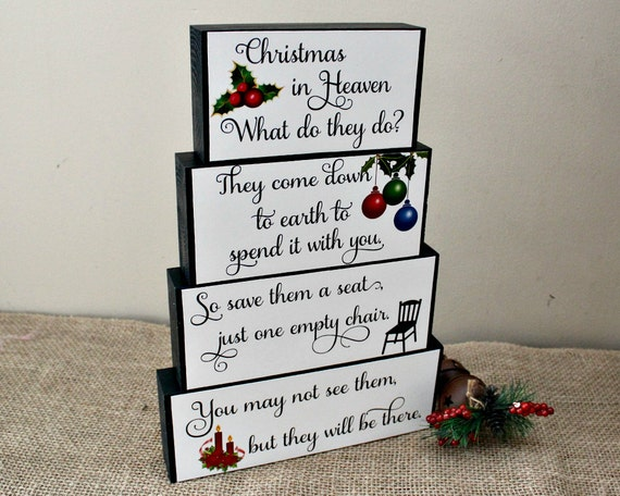 Christmas In Heaven Decorative Wood Blocks Christmas Memorial
