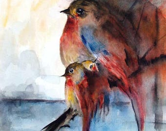 Summer Sale-Birds Original Watercolor Painting Birds Family Painting Baby Birds 8x8in