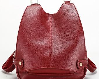 Large-capacity leather backpack, travel bag, girl's backpack, computer backpack