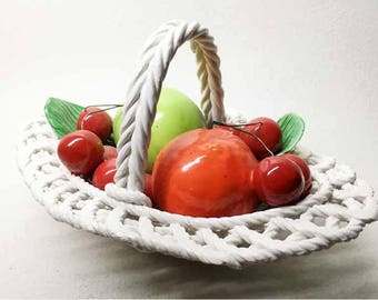 Vintage Ceramic Basket with Fruits - Ceramic Made in Italy