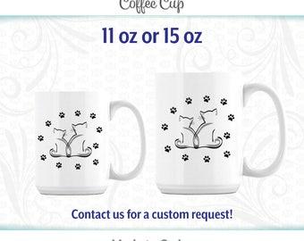 Cat Coffee Mug, Coffee Cup, 11 oz, 15oz,