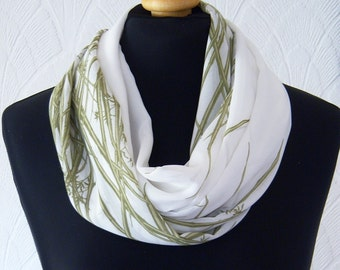 Green and off white infinity scarf loop scarf chiffon grass