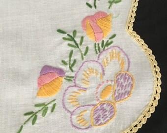 Dresser Scarf Vintage Hand Embroidered Eastern European Table Runner