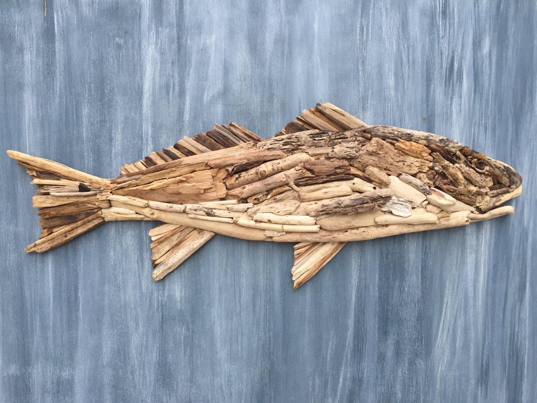 Driftwood redfish coastal wall decor for Driftwood wall