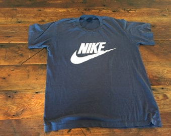 Vintage Nike Blue Label Shirt 1980's Large L Soft Cotton Men's 41-45 Rare Navy Made in USA American