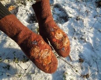 Merino wool felted mittens, Women's felt mittens, women's winter warm gloves, Wool gloves Felt floral gloves