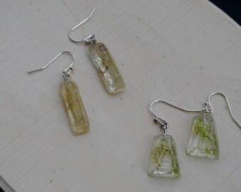 Green Lichen Moss Geometric Earrings