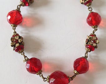 1920s Red Crystal Czech Bohemian Necklace with Brass Flower Rondels