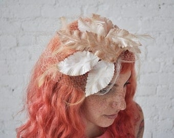 Kate fascinator • vintage 1950s blush leaf and net headpiece • 50s pink feather net fascinator