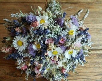 Blue and Yellow Bouquet. Wedding Flowers for Bride or Bridesmaid, Dried flowers, daisy thistle, wheat, rustic, twine, summer flowergirl posy