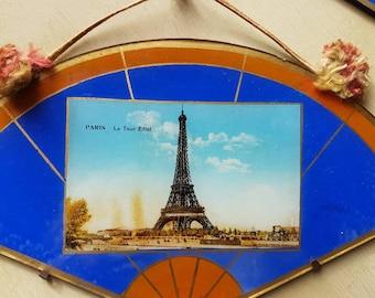 Stunning Rare Pair of Antique French Paris Art-Deco Souvenir Wall Hangings-Eiffel Tower & L'Arc de Triomphe-c.1920-Vivid Colours,Deco Style
