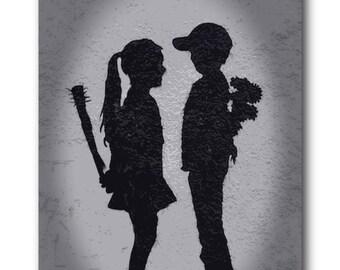 Banksy Girl Meets Boy Brushed Aluminum Metal Print