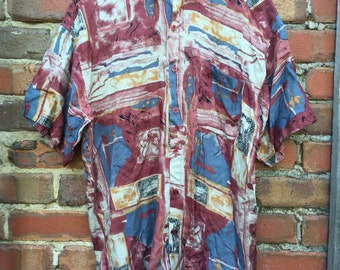 Men's Abstract Patterned Short Sleeve Shirt Size Large