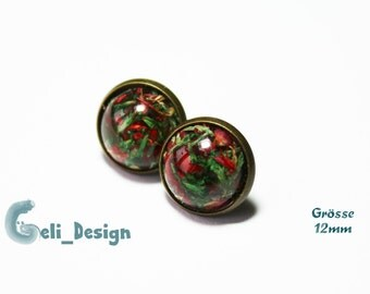 Earrings cabochon flowers dried version