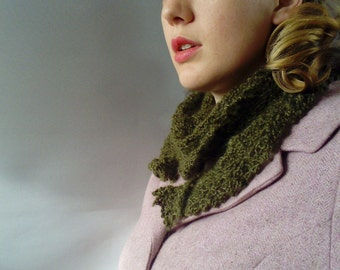 Hand knit scarf - Vintage ladies gift -  Green wool scarf - Mohair scarf - ladies shawl scarf wrap scarf - knitted scarf