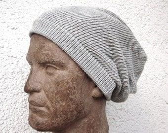 mens cotton beanie hat, mens knit cotton hat, knit mens beanie, mens knit heather gray hat, mens knit cotton cap