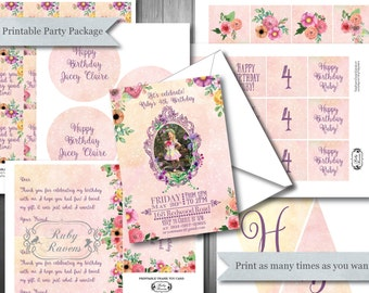 Fairy Birthday Party Printable Package - Fairy Tea Party, Printable Fairy Birthday Package, Fairy Party, Printable Fairy Decorations