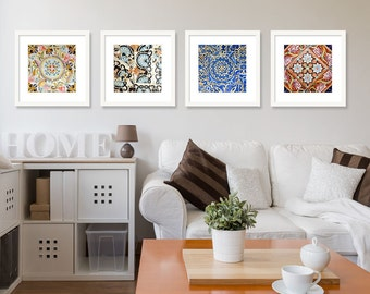 SALE Spanish Tiles Print Set Of 4 Gallery Wall Square