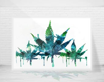 Abstract Weed Modern Art Ready to Hang Canvas or Ready to Frame Prints - Select a size