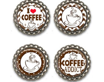 I Love Coffee Magnets -Set of Four Bottle Cap Magnets -  Refrigerator Magnets