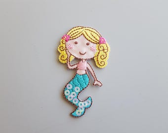 Mermaid Applique Mermaid Patch Iron On Sequence Pink Mermaid Half Embroidered