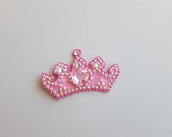 Crown Applique Princess Applique Tiara Applique Iron On Sequins Pink Princess Half Embroidered