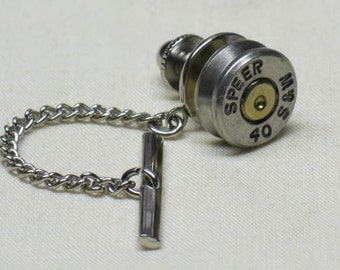 Bullet Tie Tack with clutch and chain, 40 Smith & Wesson ( 40 cal ) Nickel