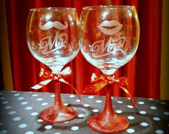 Set of 2 Mr. and Mrs. Wine Glasses - Red Glitter Stems - Wedding Gift