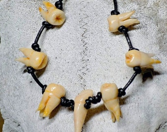 Tooth Chain Blood Horror Human Teeth Halloween Horror Cannibal