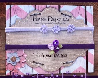 loved/adored/flower/purple/lavender/tiny/Nylon Headband/Newborn/Photoshoot/Preemie/Simple/Baby headbands/girls