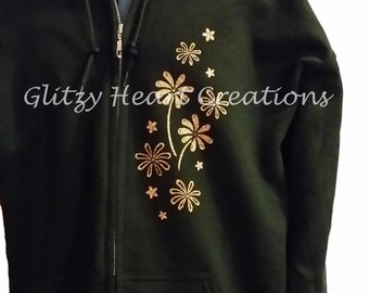 Daisy Design Hoodie, Rhinestone Full Zip, Womens Hoodie, Womens Crystal Full Zip, Rhinestone Decorated, Ladies Full Zip, Bling sweatshirt