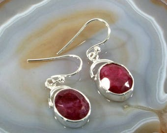 Ruby  and Silver Earrings  -- 3038