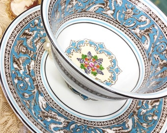 Gorgeous Wedgwood Florentine Blue Gilt Fine Bone China English Tea Cup & Saucer, Wedding Shower, Tea Time, Bridal, Tea Party, Gift #738
