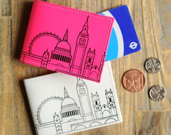 London Recycled Leather Skyline travel card holder