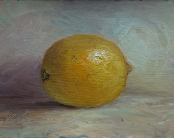 Lemon, Original Oil Painting, Still Life, Realism Oil Painting, Small Painting Still Life, Oil Painting Fruit, Lemon Still Life, 5 x 7 inch