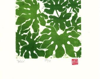 Fatsia woodblock print, printmaking, woodcut, leaf print, poster, original print, plant, wall art, leaves, lino cut, Mothers Day