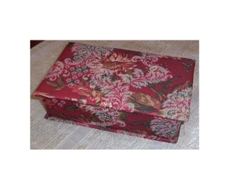 Fabric Covered Box, Lidded Box Covered With Rose Brocade Fabric