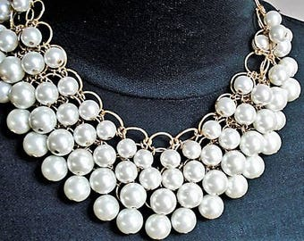 Multi Strand Pearl Necklace Wedding Jewelry Chunky Necklace Statement Jewelry Bridal Necklace Pearl Jewelry Gold Necklace Gift Bib Necklace