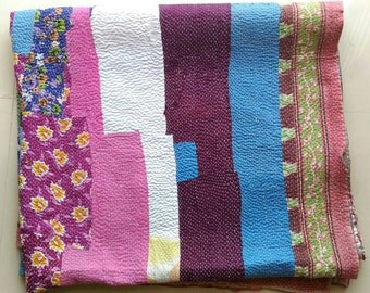 Collector's Item!! USD 10 off!! Exquisite Vintage kantha quilt /India/ throw/ blanket/ coverlet/ Sari quilt/ Gudri, Ready to ship!!