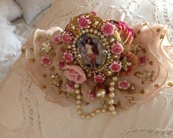 Reserved Liza, rococo cuff lace bracelet, Venus,  porcelain cabochon,swarovski rhinestones,very old french lace