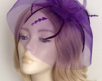 PURPLE CRIN FASCINATOR, With feathers, On a clip