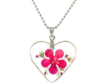 Heart Shape Real Flower Pendant