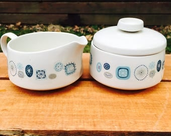 Franciscan Del Mar pattern dinnerware Sugar Bowl with Lid and Creamer
